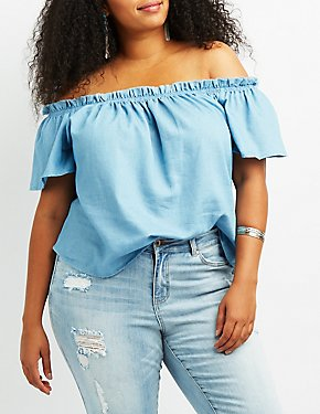 Plus Size Chambray Off-The-Shoulder Top