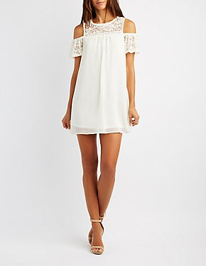Crochet-Trim Lace Yoke Cold Shoulder Dress