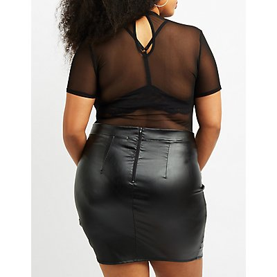 Plus Size Embroidered Mesh Mock Neck Bodysuit