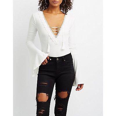 Crochet-Trim Lace-Up Bell Sleeve Bodysuit