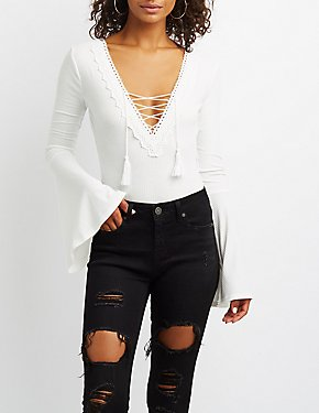 Crochet-Trim Lace-Up Bell Sleeve Bodysuit