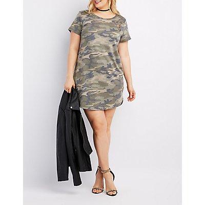 Plus Size Camo Destroyed T-Shirt Dress