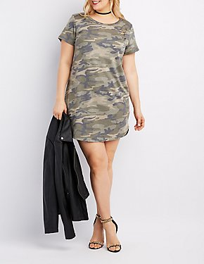 Plus Size Camo Destroyed T-Shirt Dress