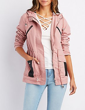 Leather-Trim Hooded Anorak Jacket