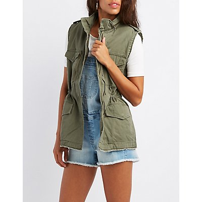 Distressed Drawstring Utility Vest