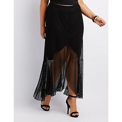 Plus Size Mesh Ruffle-Trim High-Low Skirt