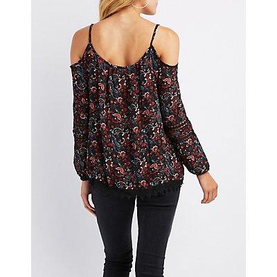 Floral Crochet-Trim Cold Shoulder Top