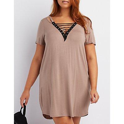 Plus Size Cut-Out Lace-Up T-Shirt Dress