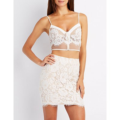 Lace & Mesh Bustier Top