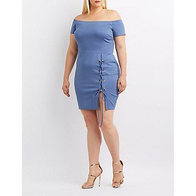 Plus Size Off-The-Shoulder Lace-Up Bodycon Dress