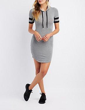 Varsity Stripe Hooded Sweatshirt Dress
