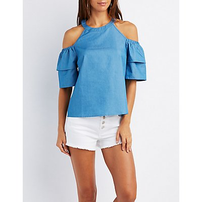 Chambray Cold Shoulder Tiered Sleeve Top