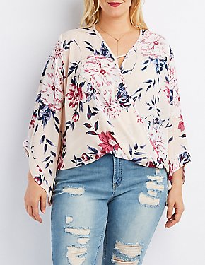 Plus Size Floral Surplice Blouse