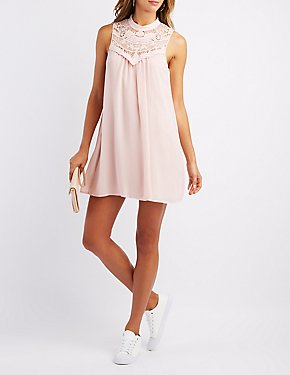 Chiffon Crochet Yoke Shift Dress