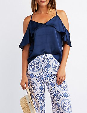 Satin Ruffle Cold Shoulder Top