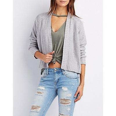 Shaker Stitch Open-Front Boyfriend Sweater