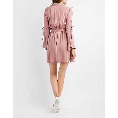 Cold Shoulder Button-Up Skater Dress
