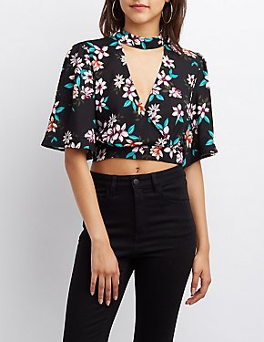 Floral Surplice Tie Back Crop Top