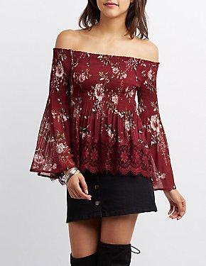 Floral Lace-Trim Smocked Off-The-Shoulder Top