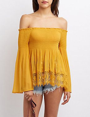 Lace-Trim Smocked Off-The-Shoulder Top