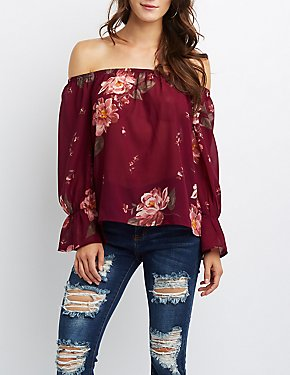 Floral Bell Sleeve Off-The-Shoulder Top