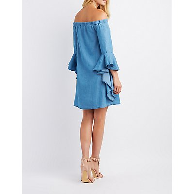 Chambray Off-The-Shoulder Cascade Sleeve Dress