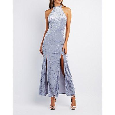 Velvet Mock Neck Maxi Dress