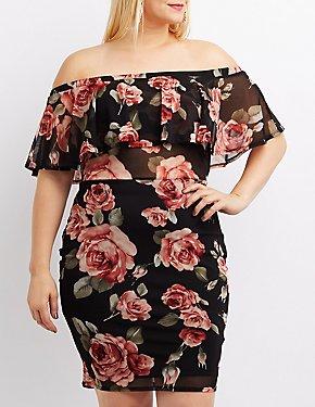 Plus Size Floral Mesh Off-The-Shoulder Bodycon Dress