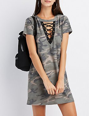 Camo Lace-Up T-Shirt Dress