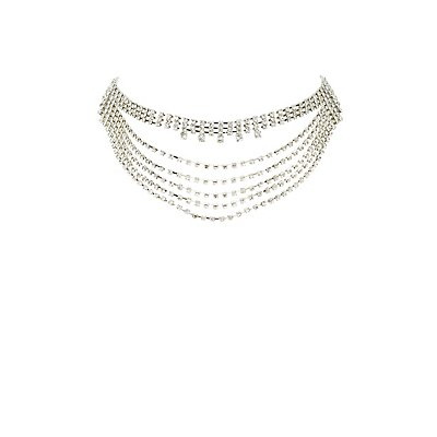 Plus Size Crystal Layered Choker Necklace