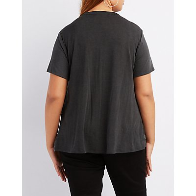 Plus Size Choker Neck Racer Graphic Tee