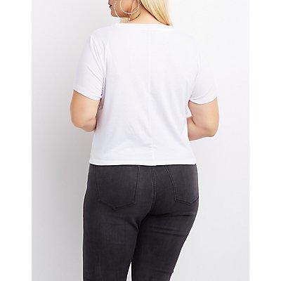 Plus Size Corset-Detail Crop Top