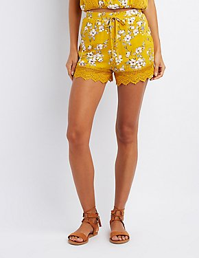 Floral Crochet-Trim Shorts