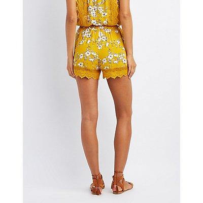 Floral Crochet-Trim Shorts