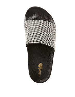 Rhinestone Embellished Slide Sandals
