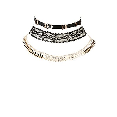 Faux Leather, Lace, & Chain Choker Necklaces - 3 Pack