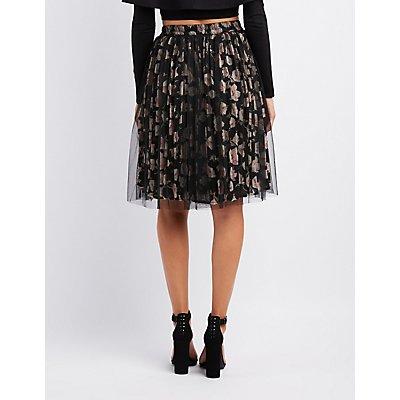 Mesh Overlay Floral Pleated Skirt