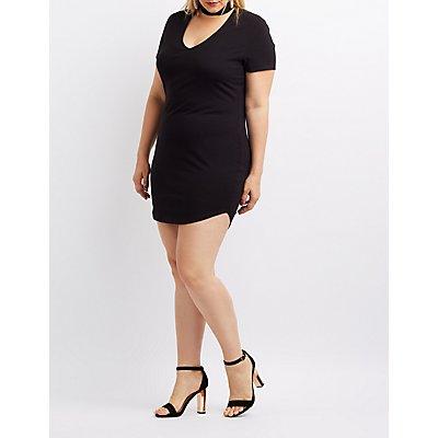 Plus Size Choker Neck Bodycon Dress