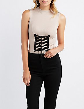 Ribbed Mock Neck Corset-Detail Bodysuit