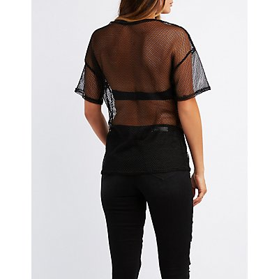 Rose Embroidered Fishnet Tee