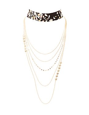 Plus Size Floral Choker & Multistrand Necklaces - 2 Pack