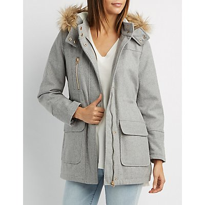 Faux Fur-Trim Anorak Coat