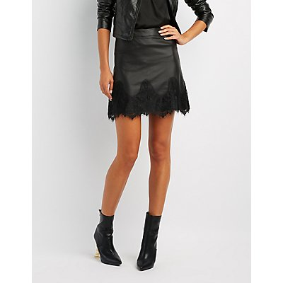 Lace-Trim Faux Leather Skirt