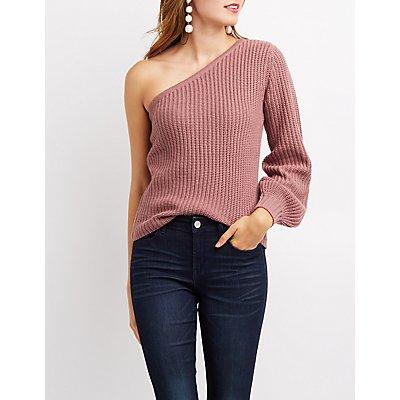 Shaker Stitch One Shoulder Sweater