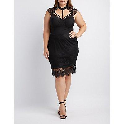 Plus Size Lace-Trim Caged Bustier Bodycon Dress