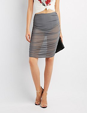 Mesh Ruched Pencil Skirt
