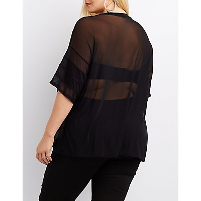 Plus Size Mesh Rock & Roll Graphic Tee