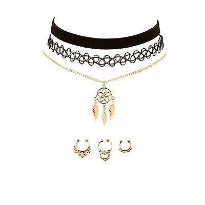 Boho Choker Necklaces & Septum Rings Set