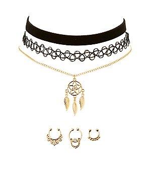 Boho Choker Necklaces & Septum Rings Set