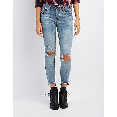 Refuge Acid Wash Step Hem Destroyed Skinny Jeans